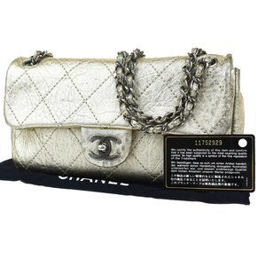 CHANEL CC Logo Quilted Chain Shoulder Bag Gold Lea